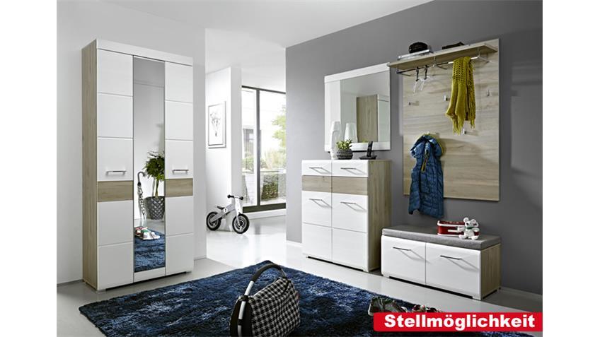 Garderobenset FUNNY weiß Silbereiche Spiegel