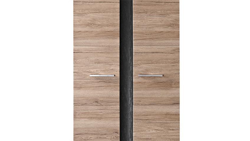 Garderobenschrank SPOT San Remo Eiche hell Schiefer mit LED