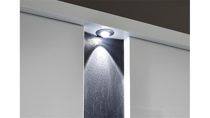 Garderobenschrank SPOT weiß Hochglanz Schiefer inkl. LED