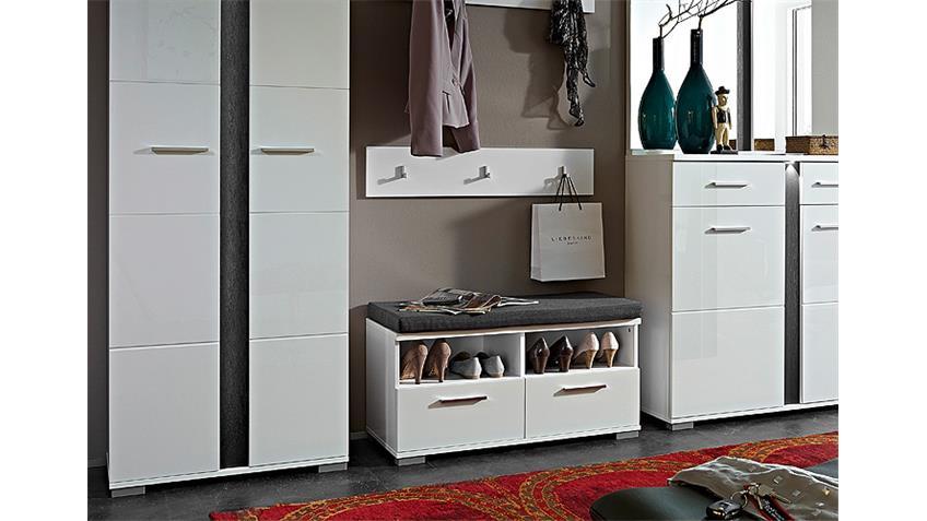 Garderobenset SPOT weiß Hochglanz Schiefer inkl. LED