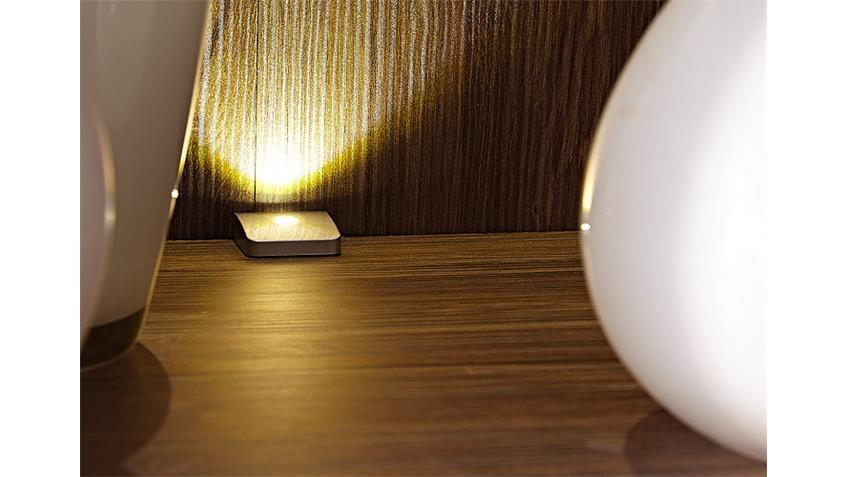 Vitrine 2 BRÜSSEL Wohnzimmerschrank Akazie dunkel inkl. LED