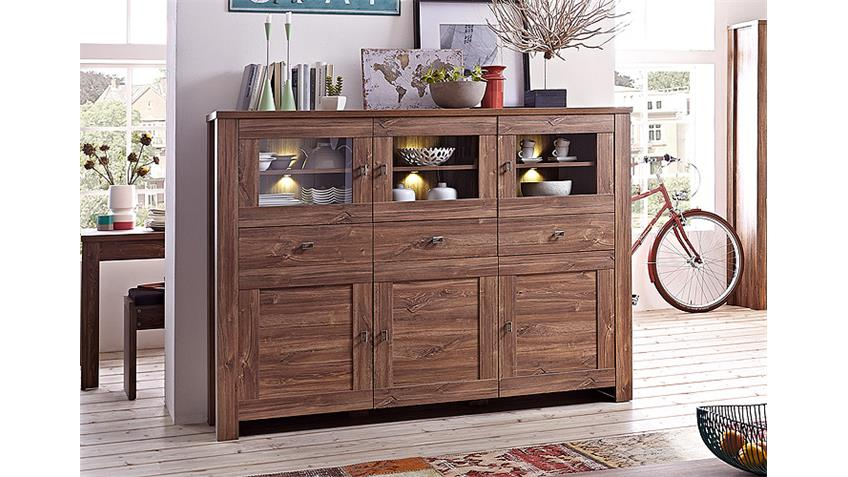Highboard BRÜSSEL Sideboard in Akazie dunkel inkl. LED