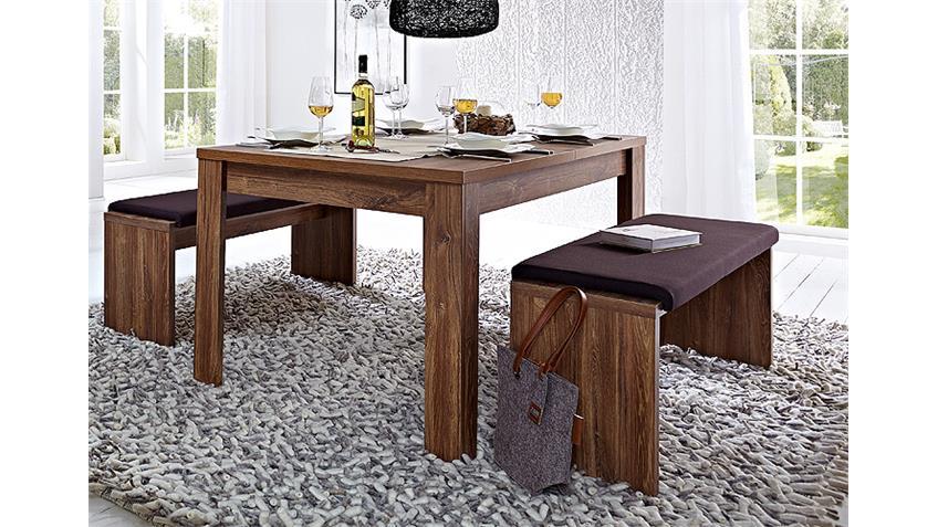 Tischgruppe BRÜSSEL Tisch Bank inkl. Polster in Akazie dunkel