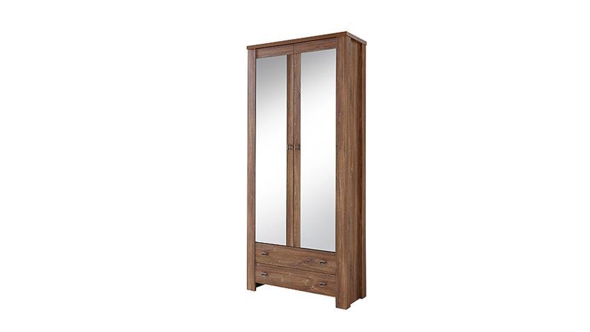 Garderobenschrank BRÜSSEL Garderobe Spiegel Akazie dunkel