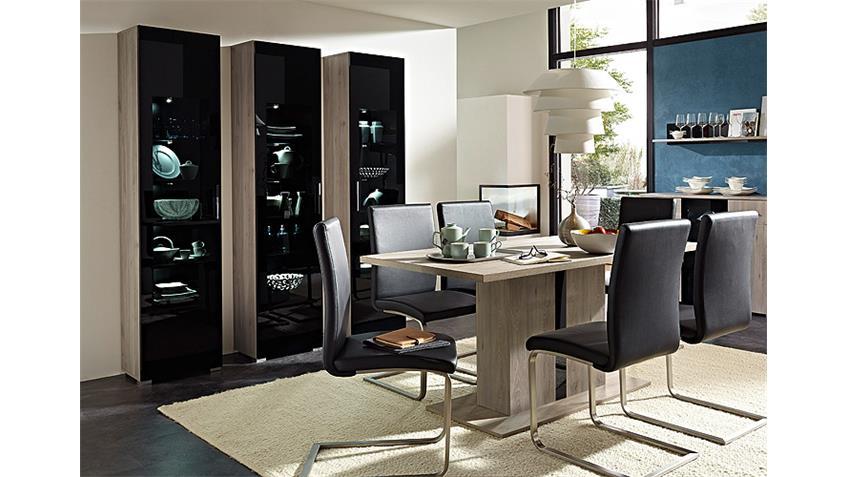 Esstisch BLACKLIGHT Tisch Silbereiche und Schwarzglas 160