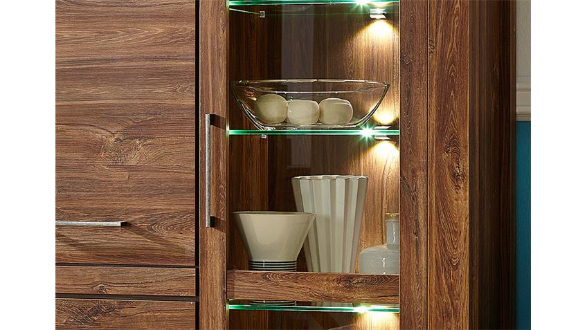 Vitrine GENT Highboard Schrank in Akazie dunkel inkl. LED