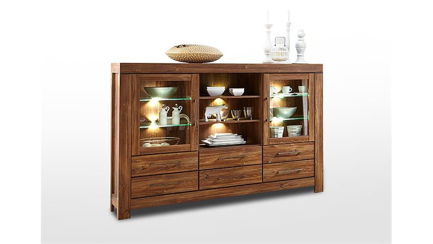Highboard GENT Buffet Vitrine in Akazie dunkel inkl. LED