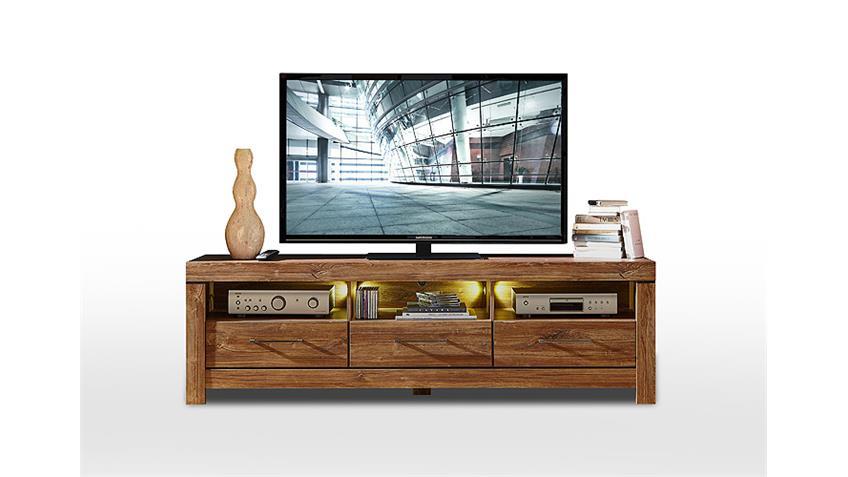 TV-Board GENT Lowboard Unterschrank in Akazie dunkel inkl. LED