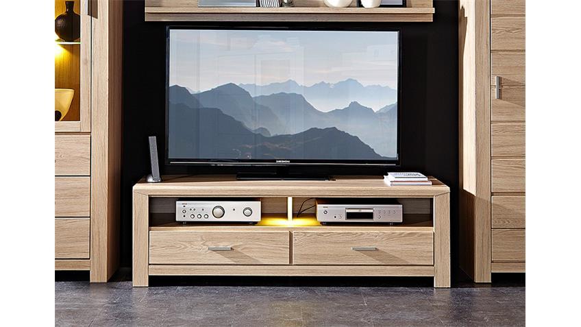 TV-Board LÜTTICH 1 Lowboard Unterschrank Eiche hell inkl LED