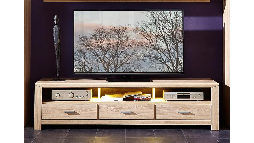 TV-Board LÜTTICH 2 Lowboard Unterschrank Eiche hell inkl LED