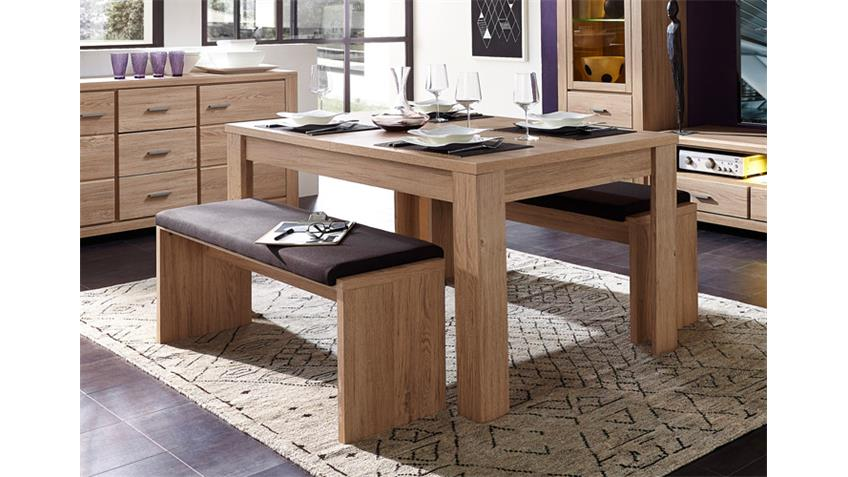 Tischgruppe LÜTTICH Tisch Sitzbank ausziehbar Eiche hell