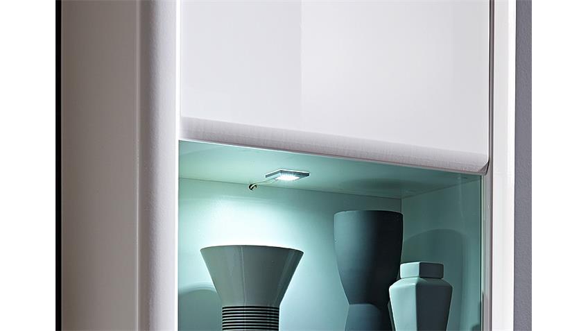 Hängevitrine RUN Hängeschrank in weiß Hochglanz inkl. LED