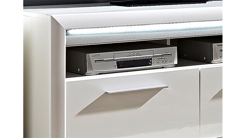 TV-Board RUN Lowboard Unterschrank weiß Hochglanz inkl. LED