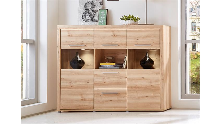 Highboard RUN Vitrine Schrank Buffet in Buche hell inkl. LED