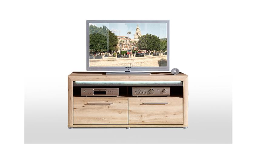 tv board run lowboard unterschrank buche hell inkl led. Black Bedroom Furniture Sets. Home Design Ideas