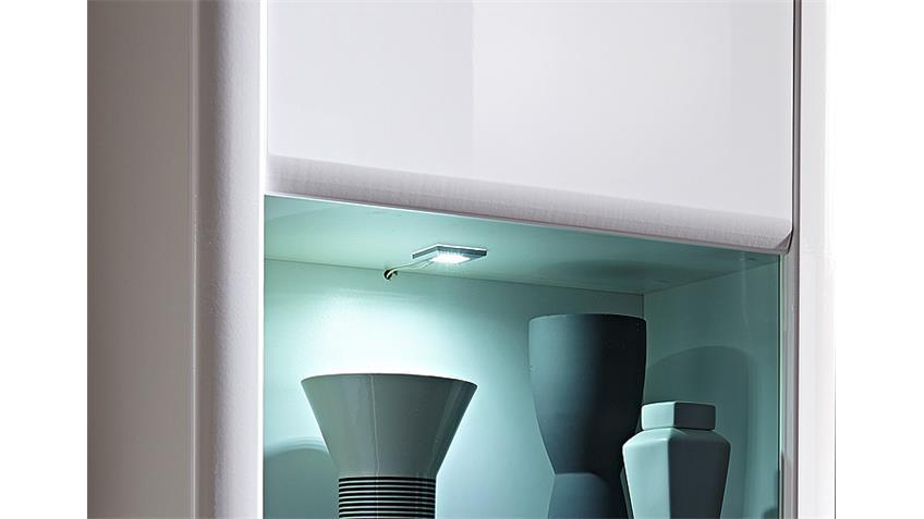 Wohnwand 1 RUN Anbauwand Wohnkombi weiß Hochglanz inkl. LED