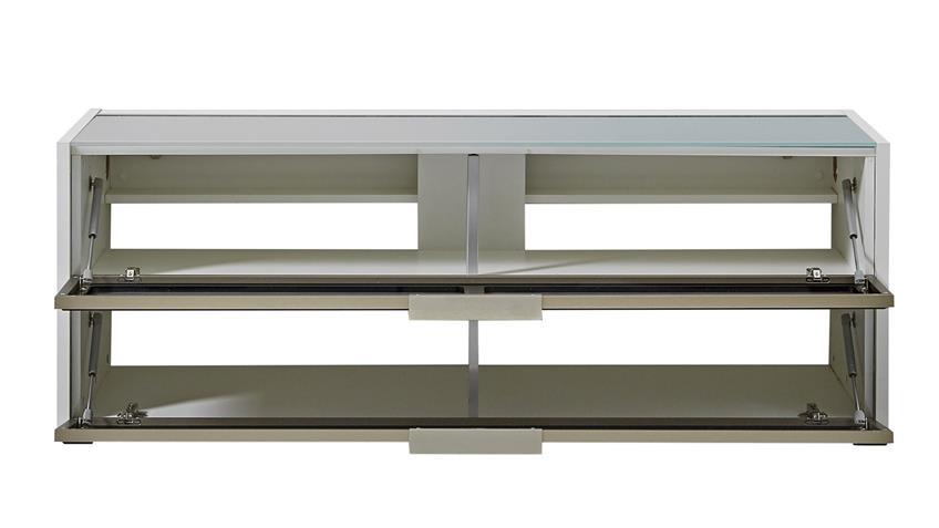 TV-Board MEDIAN Unterteil Lowboard weiß und grau inkl. LED