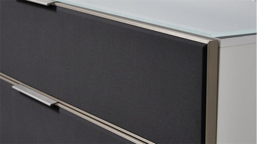 TV-Board MEDIAN weiß Hochglanz mit grauem Akustikstoff inkl. LED