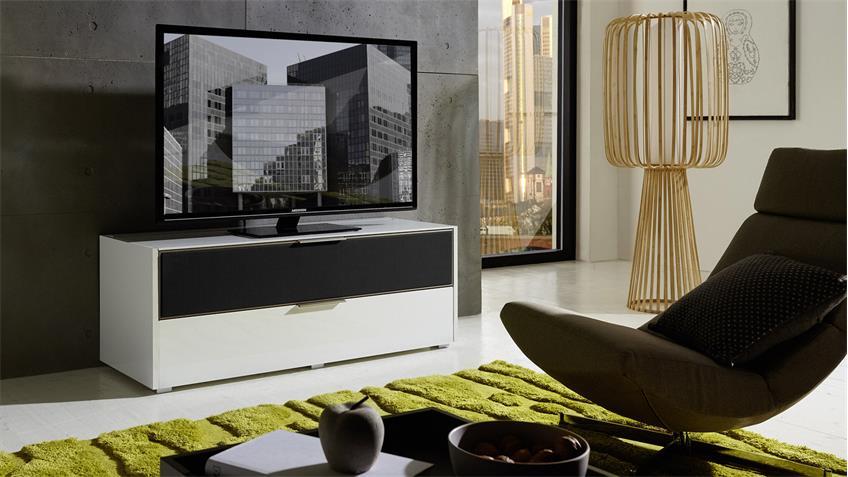 TV-Board MEDIAN Unterteil Lowboard weiß Hochglanz mit Akustikstoff