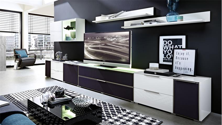 wohnwand 1 median anbauwand wei hochglanz mit akustikstoff inkl led. Black Bedroom Furniture Sets. Home Design Ideas