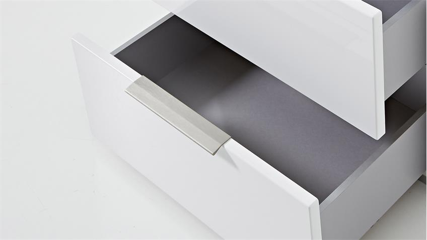 Wohnwand 3 MEDIAN Anbauwand Set weiß Hochglanz und grauem Akustikstoff