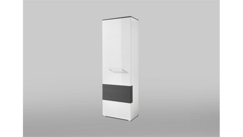Garderobenschrank Reno Schrank in weiß Hochglanz und grau