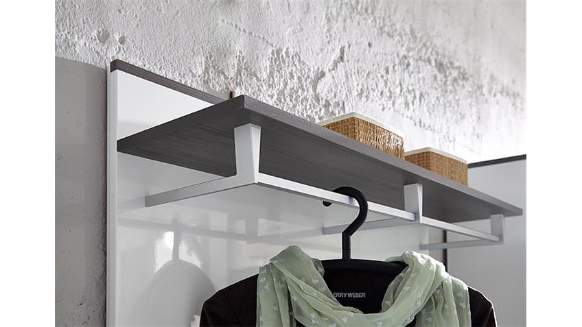 Garderobenpaneel RENO Paneel in weiß Hochglanz und grau