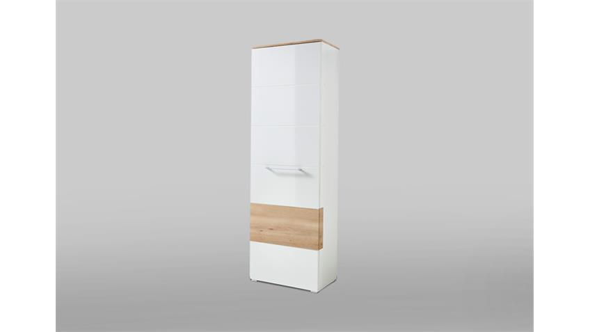 Garderobenschrank Reno Schrank in weiß Hochglanz und Buche
