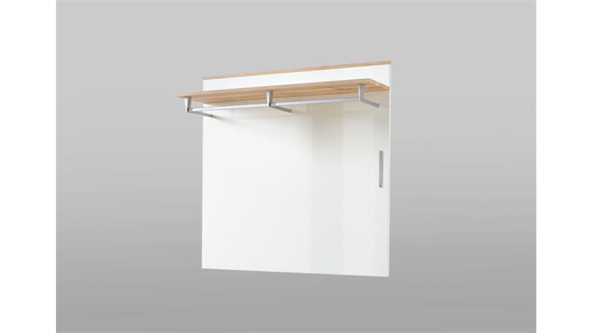 Garderobenpaneel Reno Paneel in weiß Hochglanz und Buche