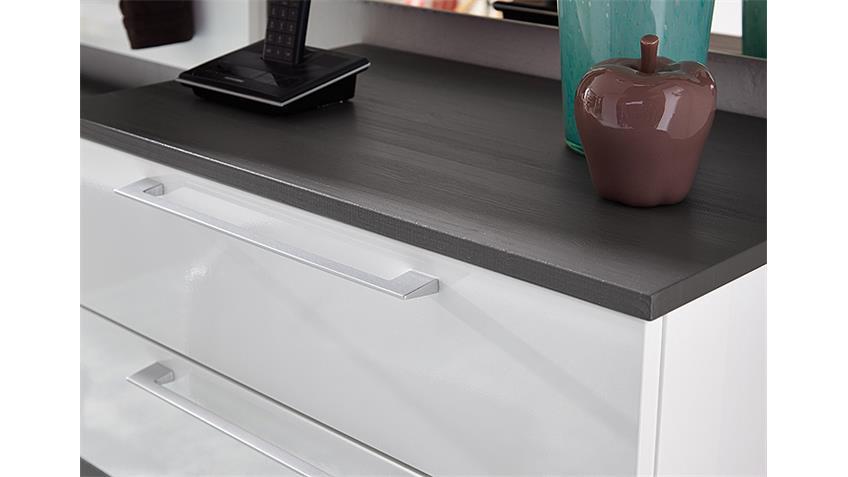 Garderobenset Reno Garderobe in weiß Hochglanz und grau