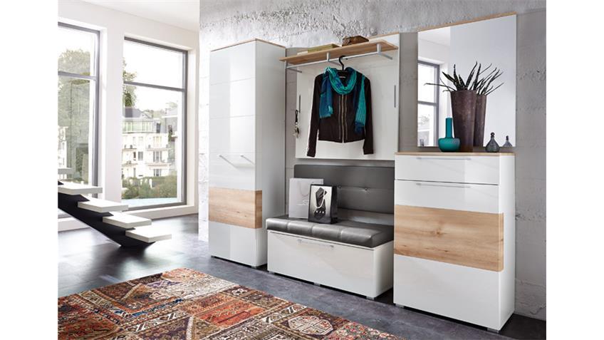 Garderobenset Reno Garderobe in weiß Hochglanz und Buche