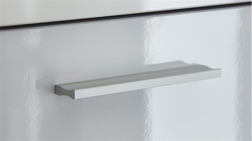 Wohnwand 1 CLOU Anbauwand weiß Hochglanz anthrazit mit LED