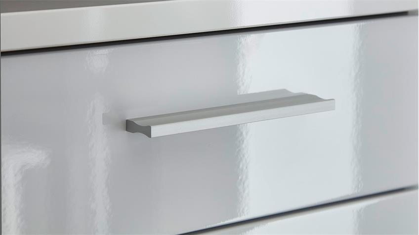 Sideboard CLOU Kommode weiß Hochglanz anthrazit LED