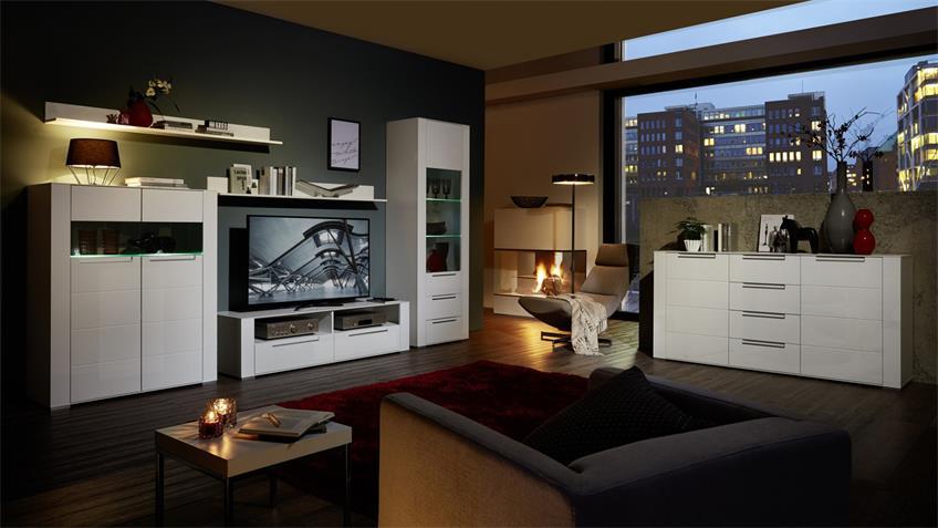 Wohnwand DINARO 6-tlg. weiß Vitrine Low- & Sideboard mit LED