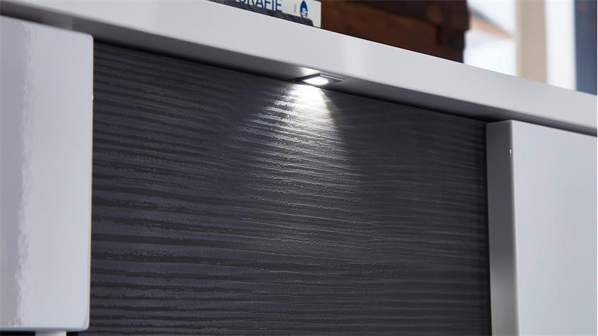 Vitrine links CLOU Glasvitrine weiß Hochglanz anthrazit LED