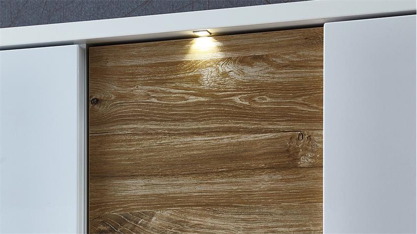 Sideboard CLOU Kommode weiß Hochglanz Balkeneiche LED