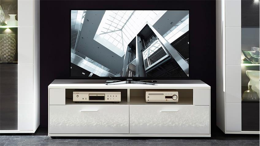 TV-Unterschrank CLOU Lowboard TV-Board in weiß Hochglanz
