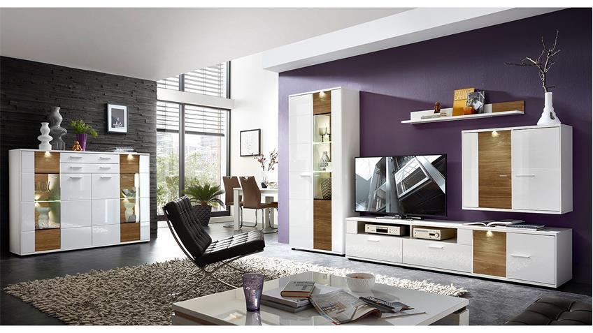 TV-Board CLOU Lowboard weiß Hochglanz anthrazit mit LED