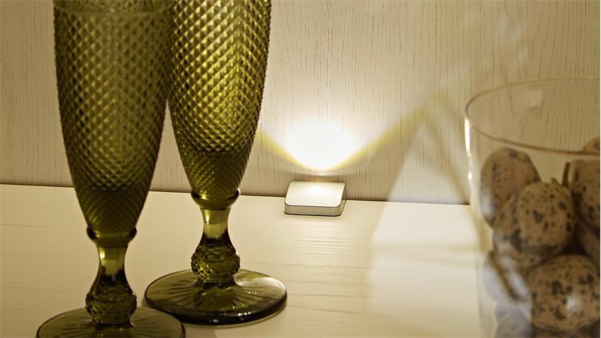 Vitrine LIMA Glasvitrine Schrank Pinie hell Taupe mit LED
