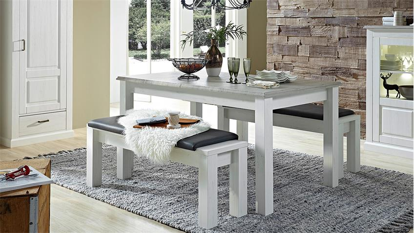 Esstisch LIMA Tisch ausziehbar in Pinie hell Taupe 160-240