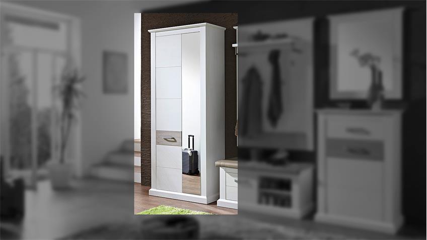 Garderobenschrank 1 MODENA Garderobe in Pinie hell und Taupe