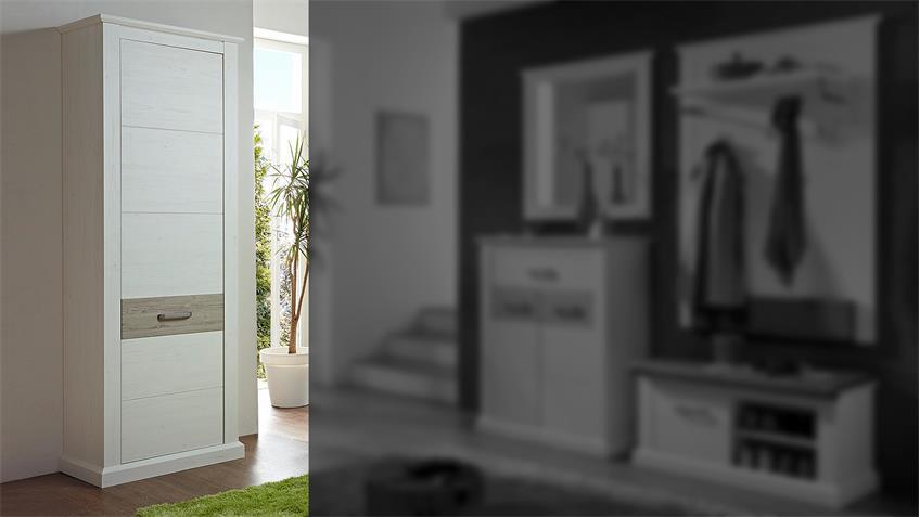 Garderobenschrank 2 MODENA Garderobe in Pinie hell und Taupe