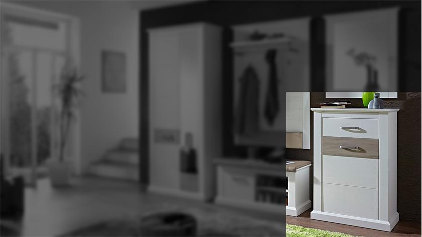Schuhschrank 1 MODENA Garderobe in Pinie hell und Taupe