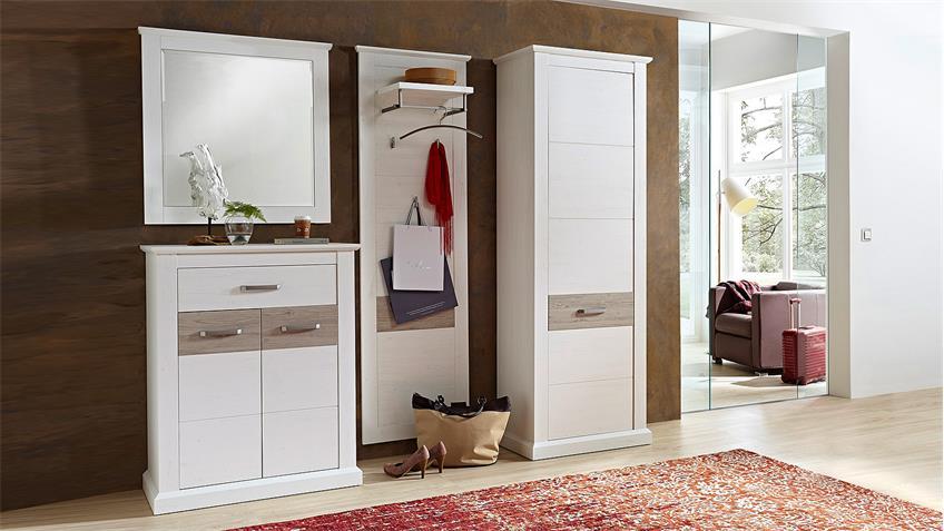 Garderobenpaneel 2 MODENA Paneel in Pinie hell und Taupe