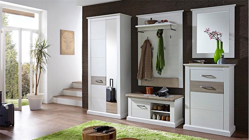 Garderobenset 1 MODENA Garderobe in Pinie hell und Taupe