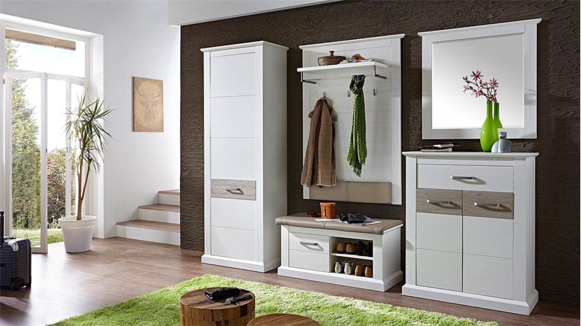 Garderobenset 2 MODENA Garderobe in Pinie hell und Taupe
