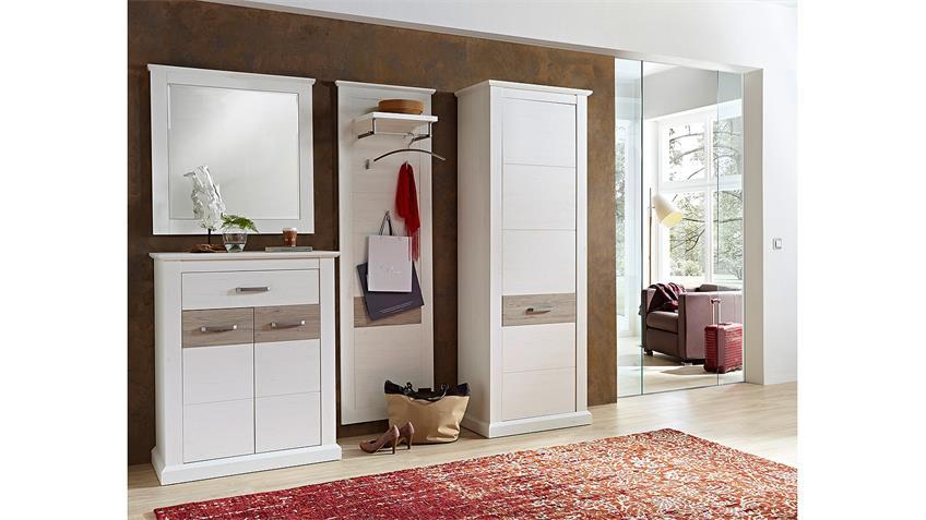 Garderobenset 3 MODENA Garderobe in Pinie hell und Taupe