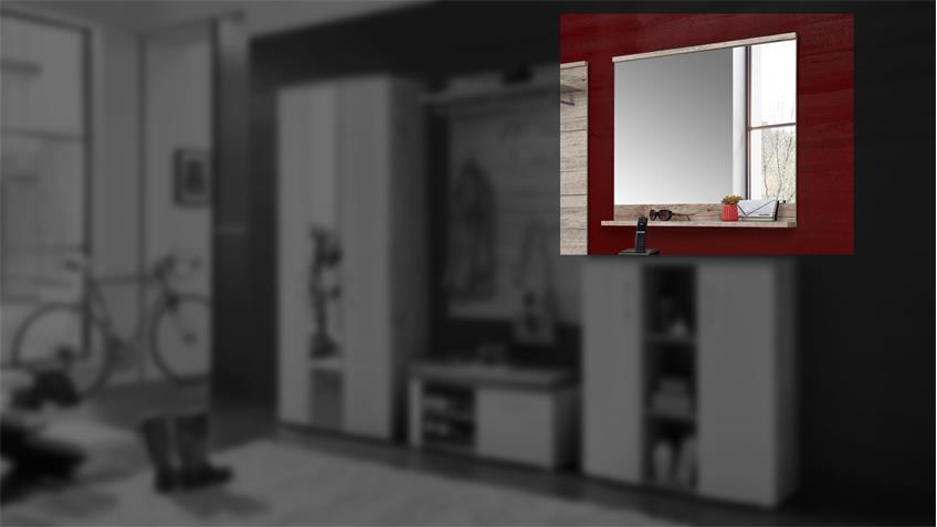 Spiegel RONDOS Wandspiegel Hängespiegel in Sandeiche 85 cm
