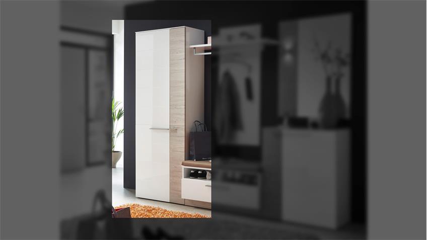 Garderobenschrank DUO Garderobe in weiß Hochglanz und Taupe