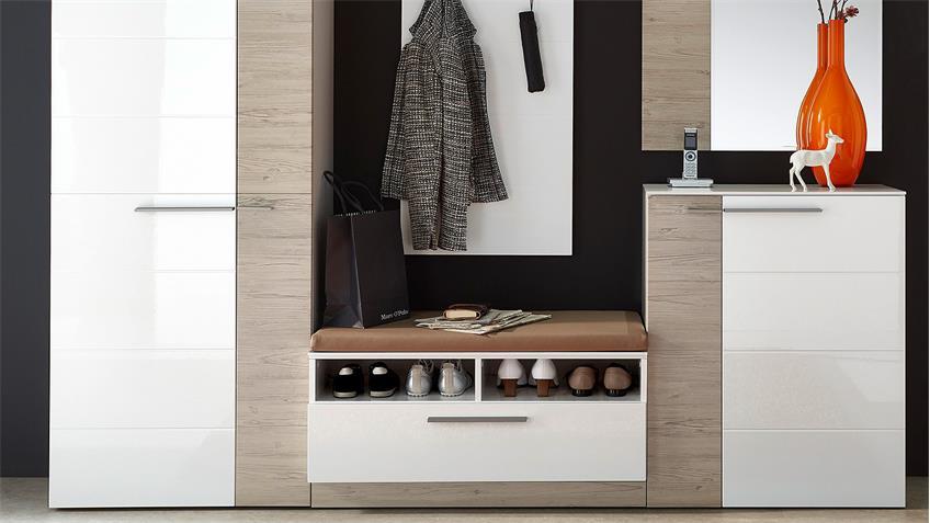 Garderobenset 1 DUO Garderobe weiß Hochglanz Taupe mit LED